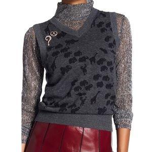 Marc Jacobs animal jacquard cashmere sweater vest
